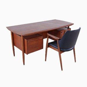 Cowhorn Schreibtisch & Stuhl von Tijsseling Nijkerk für Hulmeta, 1950er, 2er Set