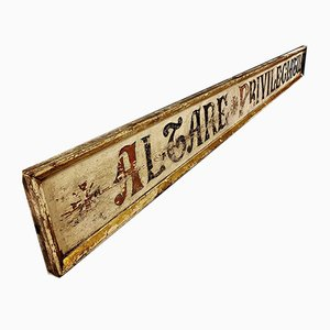 Large Vintage Hand Painted Privileged Altar Sign