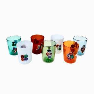 Vasos italianos de cristal de Murano de Ribes Atelier, Mariana Iskra & Luca Vestidello para Ribes Atelier, años 90. Juego de 6