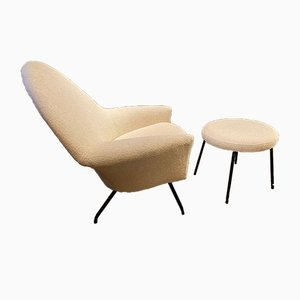 Mid-Century 770 Armchair & Ottoman by Joseph-André Motte for Steiner, France, 1950s, Set of 2