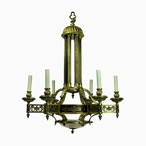 Antiker Französischer Kronleuchter aus Vergoldeter Bronze