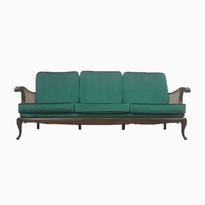 Art Deco 3-Seater Rattan Sofa in Royal Green Velvet