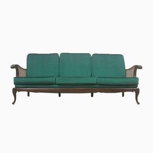Art Deco 3-Sitzer Sofa aus Rattan in königsgrünem Samt