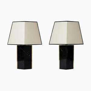 Black Marble and Brass Table Lamps by Dorian Caffot de Fawes, 2010, Set of 2