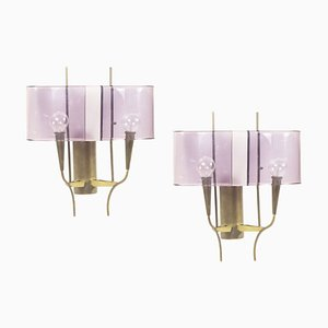 Violette Plexiglas & Messing Wandlampen von Stilux Milano, 1960er, 2er Set