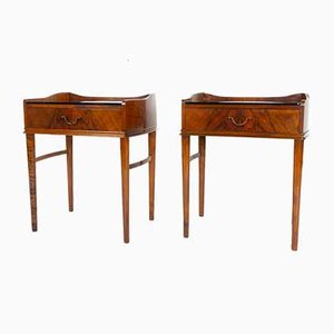 Danish Walnut Bedside Tables, 1950s, Set of 2