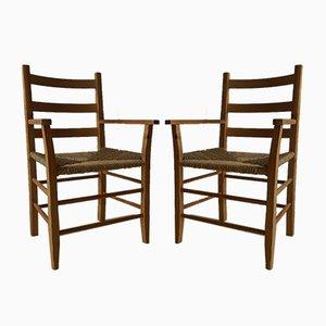 Dänische Vintage Kiefernholz Armlehnstühle, 2er Set