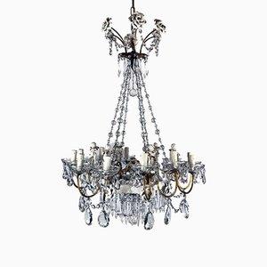 Lustre Capodimonte en Cristal et en Porcelaine à 12 Lampes, 1950s