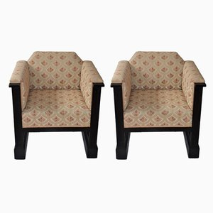 Antique Art Nouveau Viennese Club Chairs by Josef Hoffmann, Set of 2
