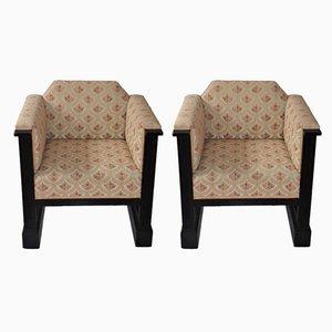 Club chair Art Nouveau antiche viennesi di Josef Hoffmann, set di 2