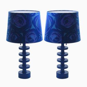 Blaue Luxus Tischlampen von Uno & Östen Kristiansson für Luxus, 1960er, 2er Set