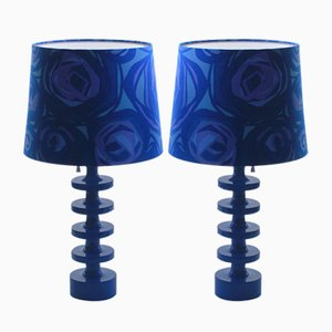Lampade da tavolo Luxus blu di Uno & Östen Kristiansson per Luxus, anni '60, set di 2