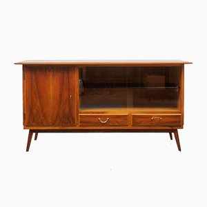 Walnut Sideboard with Glass Tray, 1950s
