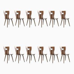Sillas de escritorio francesas de madera curvada de Joamin Baumann, años 50. Juego de 12