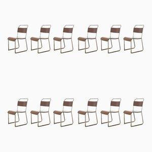 Sedie da pranzo impilabili in bachelite di PEL, anni '40, set di 12