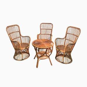 Mid-Century Korbgeflecht Sitzgruppe, 4er Set