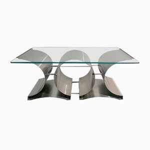 Mid-Century Modern Brushed Steel Coffee Table by Francois Monnet