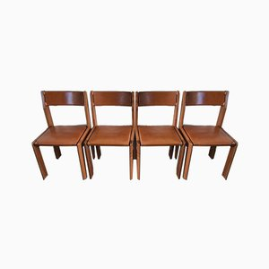 Vintage Elm and Leather Dining Chairs, Set of 4