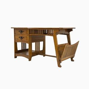 Antiker Jugendstil Schreibtisch & Armlehnstuhl von Gustave Serrurier-Bovy, 2er Set