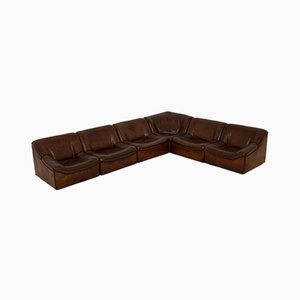 Vintage Leather DS46 Sectional Corner Sofa from de Sede, 1960s, Set of 6