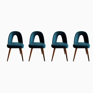 Velvet Dining Chairs by Antonín Šuman for Tatra, 1960s, Set of 4