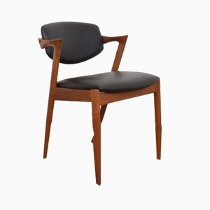 Mid-Century Danish Teak and Leather Dining Chair Model 42 by Kai Kristiansen for Schou Andersen, 1960s