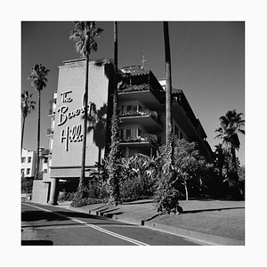 Beverly Hills Hotel Silver Fibre Gelatin Print Framed in Black by Slim Aarons
