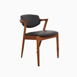 Dänischer Mid-Century Teak & Leder Modell 42 Stuhl von Kai Kristiansen für Schou Andersen, 1960er