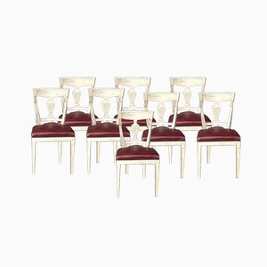 Antique French Directoire Dining Chairs, Set of 8