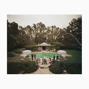 Beverly Hills Pool Party Oversize C Print Framed in White by Slim Aarons