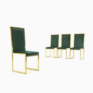 Green Velvet & Brass Dining Chairs, 1960s, Set of 4