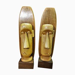 Vintage Holzskulpturen von Paul Jansen, 2er Set