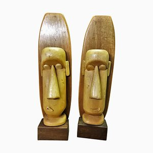 Vintage Wooden Sculptures by Paul Jansen, Set of 2