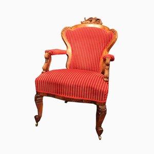 Antique Historicist Armchair on Wheels