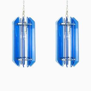 Vintage Veca Cristal Art Glas Wandlampen von Fontana Arte, 1960er, 2er Set