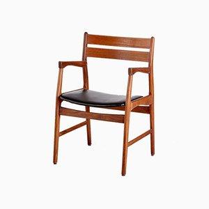 Vintage Teak Leather Armchair, 1960s