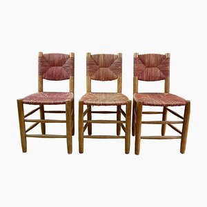 Red No. 19 Bauche Dining Chairs by Charlotte Perriand for Rober Sentou, 1960s, Set of 3