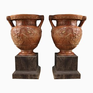 Italian Terracotta Vases, 1920s, Set of 2