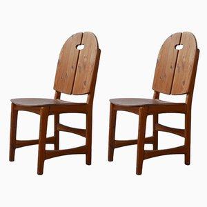 Schwedische Mid-Century Kiefernholz Stühle, 1960er, 2er Set