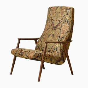 Danish Patterned Fabric Lounge Chair, 1960s