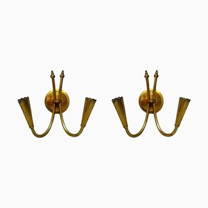 Brass Sconces from Stilnovo, 1960s, Set of 2