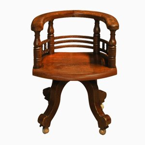 Antique Victorian Captains Clerks Swivel Desk Chair with Carved Detailing to Rear & Cast Iron Base, 1890s