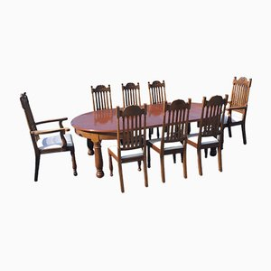 Antique Edwardian Oak Dining Table & Chairs Set, Set of 9
