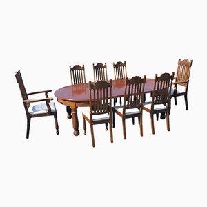 Set di due sedie da pranzo edoardiane in quercia, set di 9