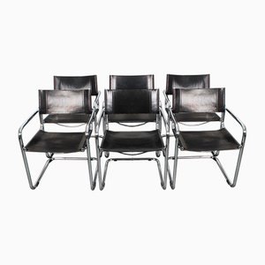S34 Black Leather Armchairs by Mart Stam & Marcel Breuer, 1970s, Set of 6