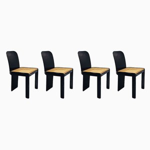 Italian Black Lacquer Wood and Vienna Straw Dining Chairs by Pierluigi Molinari for Pozzi, 1970s, Set of 4