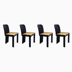 Italienische Esszimmerstühle aus Schwarz Lackiertem Holz und Wiener Gestellen von Pierluigi Molinari für Pozzi, 1970er, 4er Set