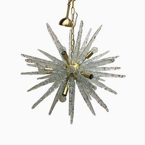 Sputnik Kronleuchter aus Muranoglas & Gebürstetem Messing von Italian Light Design