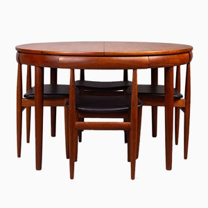 Model Roundette Dining Table & Chairs Set by Hans Olsen for Frem Røjle, 1960s, Set of 7