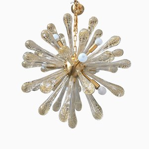 Lámpara de araña Sputnik de cristal de Murano y latón cepillado de Italian Light Design